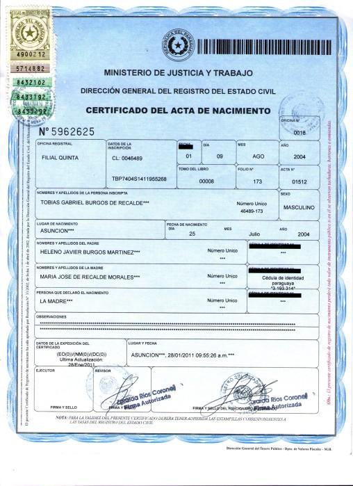 Certificado de Nacimiento | Consulado del Paraguay en Cordoba